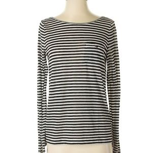 Loft Light Weight Black & White Stripe Sweater Med